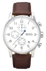 Boss Chronograph Leather Strap Watch 44Mm