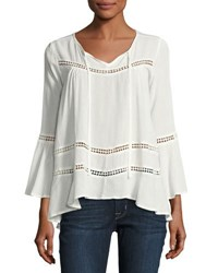 Cirana Bell Sleeve Keyhole Top Off White