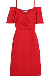 Paul And Joe Cold Shoulder Satin Dress Red