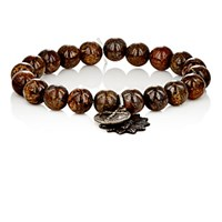 Miracle Icons Men's Bronzite Bead And Charm Bracelet Brown