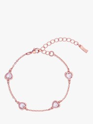 Ted Baker Heniee Swarovski Crystal Heart Chain Bracelet Rose Gold Light Amethyst
