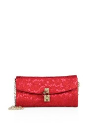 Dolce And Gabbana Lace Pouchette Chain Clutch Dark Red