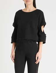 Good American The Cut Out Cropped Cotton Jersey Sweatshirt Black001