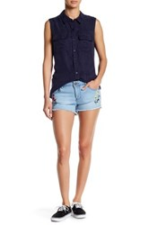 Romeo And Juliet Couture Embroidered Floral Short Blue