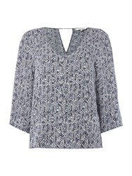 Part Two Feminine Blouse With Beautiful Artwork Print Blue