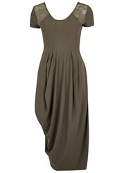 High Volta Ruched Stretch Jersey Dress Khaki