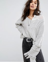 One Teaspoon Cable Knit Jumper With Tassel Detail Grey Marle