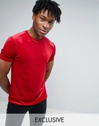 Reclaimed Vintage Velour Fitted T Shirt Red
