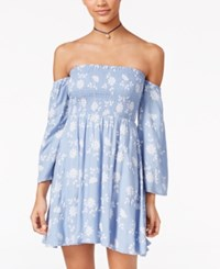 American Rag Printed Off The Shoulder Fit And Flare Dress Only At Macy's Blue Combo