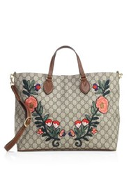 Gucci Embroidered Gg Supreme Tote Beige Multi