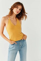 Urban Outfitters Uo Dion Plunging Halter Tank Top Yellow