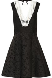Sandro Rhythm Pleated Embroidered Mesh Mini Dress Black