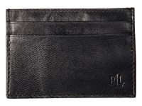 Lauren Ralph Lauren Burnished Card Case W Money Clip Black Wallet Handbags