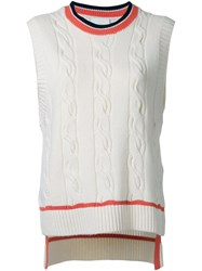 3.1 Phillip Lim Cable Knit Tank Top White