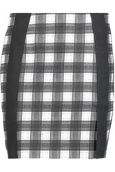 Carven Gingham Stretch Cotton Mini Skirt Black
