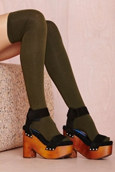 Nasty Gal Prepster Thigh High Olive