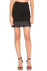 Bobi Black Double Knit Fringe Mini Skirt