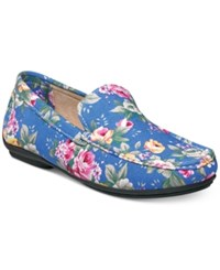 Stacy Adams Men's Panache Floral Driving Moc Toe Loafers Men's Shoes Blue Floral