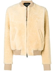 Numero 10 Zipped Bomber Jacket Neutrals