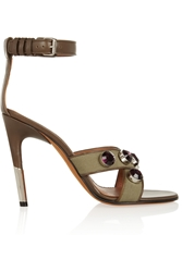 Givenchy Agata Sandals In Army Green Canvas And Leather With Crystals