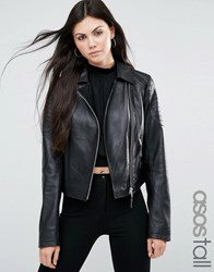 Asos Tall Ultimate Leather Biker Jacket With Quilt Hem Detail Black