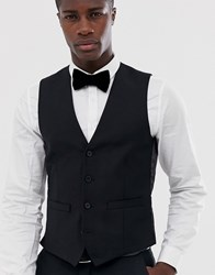 French Connection Occasion Slim Fit Tuxedo Waistcoat Black