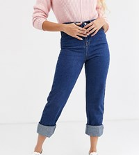 Urban Bliss Relaxed Straight Leg Jeans With Deep Turn Blue