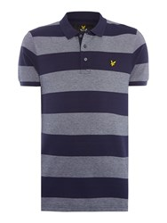 Lyle And Scott Short Sleeve Wide Stripe Polo Navy
