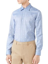 Gucci Bee Jacquard Oxford Duke Shirt Sky Blue