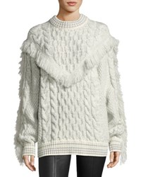 Alanui Fringed Cable Knit Cashmere Sweater White