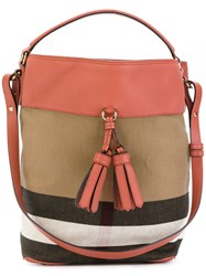 Burberry Tassel Tote Bag Women Cotton Leather One Size