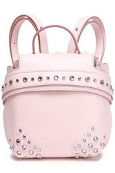 Tod's Woman Crystal Embellished Leather Backpack Pastel Pink