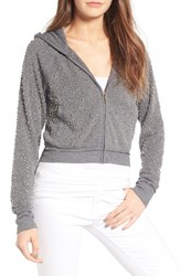 Juicy Couture Women's Dome Stud Embellished Fleece Hoodie Heather Stone