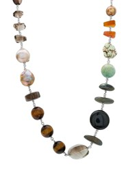 Stephen Dweck Multicolor Stone And Pearl Necklace