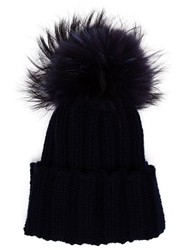 Inverni Fur Bobble Beanie Blue