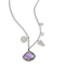 Meira T Diamond Tanzanite And 14K White Gold Charm Necklace