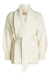 Burberry London Belted Wool Cardigan With Cashmere White