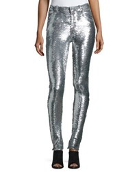 Iro Onen Skinny Sequined Pants Silver