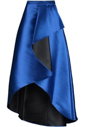 Badgley Mischka Draped Wrap Effect Satin Twill Maxi Skirt Royal Blue