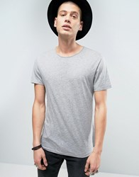 Allsaints T Shirt With Drop Shoulder Detail Grey Marl