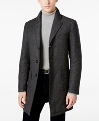 Sanyo Men's Chesterfield Houndstooth Down Overcoat Charcoal