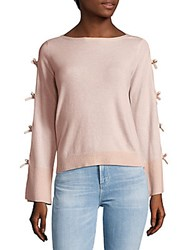 Cashmere Saks Fifth Avenue Bow Sleeve Sweater Heather Pink