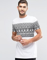 Asos Longline T Shirt With Sketchy Aztec Print In White White