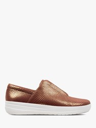 Fitflop Racine Slip On Trainers Chocolate Reptile Leather