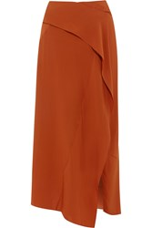 Donna Karan Georgette Wrap Maxi Skirt Brown