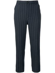 Ganni Pinstripe Cropped Trousers Blue