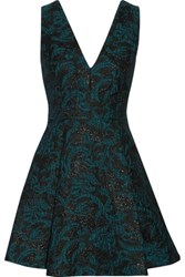 Alice Olivia Malory Pleated Metallic Jacquard Mini Dress Teal