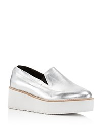 Sol Sana Tabbie Metallic Leather Platform Wedge Loafers Silver