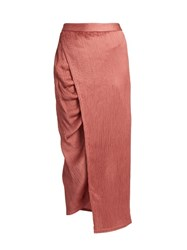 Sies Marjan Gathered Seam Crinkled Satin Midi Skirt Pink