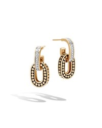 John Hardy Dot 18K Small Link Double Drop Earrings W Diamonds